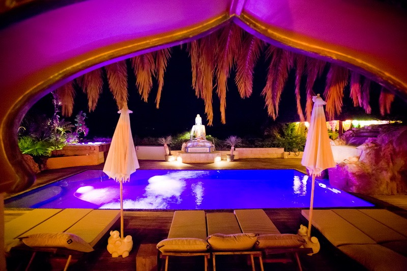 Casa Gazebo, IBIza, swimming pool  at night